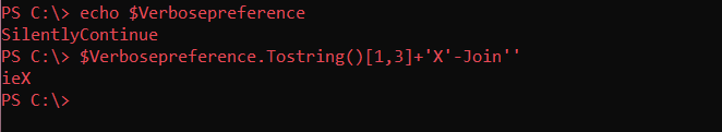Formation of the string 'ieX', which is the alias for the Invoke-Expression cmdlet